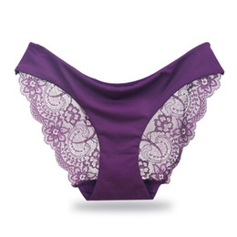 9904ab228 Women s Sexy Lace Seamless Underwear Briefs For Ladies Panty Cotton Transparent  Panties Low-rise Plus Size High Quality C19041601