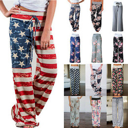 Wholesale plus size yoga capris for sale – dress 28 color Floral Yoga Fitness Wide Leg Pant Women Flare sports Pants Capris Lady Trousers Loose Long pant MMA2383