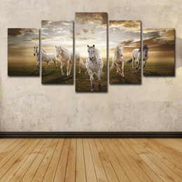 Hd Painting Horse Run Australia - (Only Canvas No Frame) 5Pcs Running Steed Pictures Clouds Animal Horses Wall Art HD Print Canvas Painting Fashion Hanging Pictures