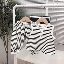 Designs Girls Shirts New Australia - NEW girls Boy Kids sets Stripped Sleeveless design Shirt + Short summer girl's set causal girl kids clothing