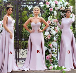 bridesmaid dresses dubai Australia - 2019 New Mermaid Mixed Style Bridesmaid Dresses Nigerian Maid of Honor Gowns with Overskirt Train Arabic Dubai Formal Party Gowns