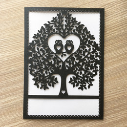 White Invitations Cards Australia - 45PCS  lot Honey White Owl In Love Pattern Hollow Laser Cut Wedding Invitations Cards Anything Grand Events Graduation Greeting Ceremony