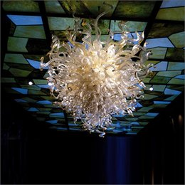Blue modern Blown glass chandelier online shopping - New Arrival Warranty Colorful Hand Blown Glass Chandelier for Hotel Home Tiffany Style Mouth Blown Glass With v v LED Bulbs