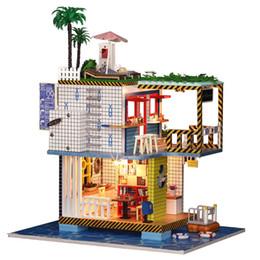 3d Love Dolls Australia - New Girl DIY 3D Wooden Mini Dollhouse 2018 Seaside Doll House Furniture Educational Toys Furniture For children Love Xmas Gift
