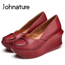Discount new summer wedges - Johnature 2019 New Spring Summer Genuine Leather Round Toe Casual Retro Wedges High (5cm-8cm) Women Shoes Pumps