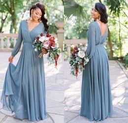 grey long sleeve bridesmaid dress 2019 - Country Style 2019 New Arrival Dusty Grey Boho Bridesmaid Dresses V Neck Long Sleeves Chiffon Party Dress Cheap Wedding