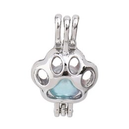 $enCountryForm.capitalKeyWord Australia - Mini Dog Paw Pearl Cage Lockets Essential Oil Diffuser Bead Cage Pendant Necklace Charms for Oyster Pearl