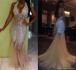 See through pageant dreSSeS online shopping - 2019 Sexy Bling Mermaid Prom Dresses Deep V Neck Halter Crystal Beaded Tulle See Through Backless Nude Evening Gowns Pageant Dresses