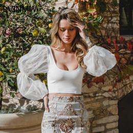 $enCountryForm.capitalKeyWord Australia - Lvinmw Sexy Mesh See Through Lantern Long Sleeve Crop Tops 2019 Spring Women Backless Patchwork Slim U-neck T-shirt Tees SH190628