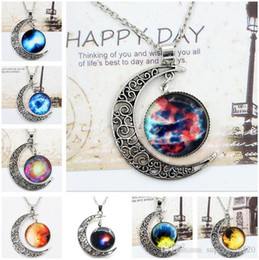 swarovski silver chain NZ - Chokers Necklace Swarovski Starry Outer Space Universe Gemstone Silver Chain Moon Necklaces Pendant Galaxy Half Crescen Glass Moon Necklace