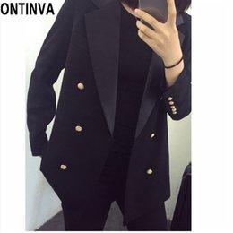 6fc78939d15d Women Blazers Fashion Double Breasted Plus Size 5XL Chaqueta Office Lady  Lapel Long Sleeve Buttoned Slim Fit Jackets Black Coat