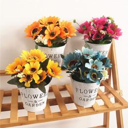 $enCountryForm.capitalKeyWord Australia - 2019 Retro flower pot Sun flower creative ornaments fashion household items artificial silk flower simulation plants with vase