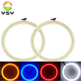 Discount cob angel 2Pcs White 70MM 60SMD COB LED Angel Eyes With SHELL Halo Ring Bulb Fog light Lamps 12V 24V For Car