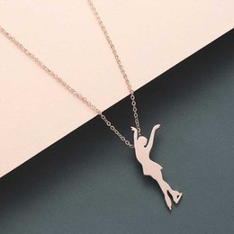 best friend necklaces for girls UK - gold chains necklace for woman Dancing girl pendants best friend stainless steel silver Gift best friend ballet necklaces womens