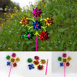 $enCountryForm.capitalKeyWord NZ - 6 Wheel Colorful Plastic Sequins Windmill Whirligig Wind Spinner Home Yard Garden Decor 50*27cm