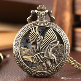 steampunk vintage necklace UK - Wholesale-Vintage Flying Hunting Eagle Quartz Pocket Watch Bronze Hollow Steampunk Necklace Chain Gift for Men Women
