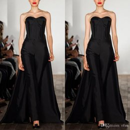Women Fashion Jumpsuit Australia - Fashion Black Jumpsuits Prom Dress Sexy Sweetheart Sleeveless Long Formal Evening Gowns With Overskirts Custom Made Women Outfit