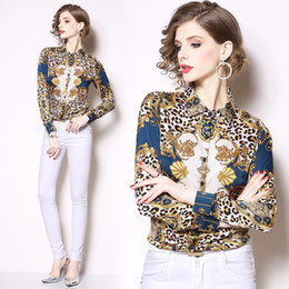 9c70b8c397300a New Women Runway Sexy Baroque Leopard Printed Collar Slim Long Sleeve Tops  Ladies OL Casual Office Button Front Lapel Neck Shirts Blouses