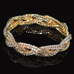 Wholesale Fashion Crystal Bracelet Women s Gold and Silver Crystal Bracelet Stretch Wedding Bridal Bridesmaid Gift Party Jewelry