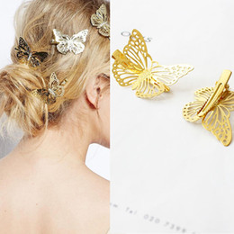 wings hair clips NZ - M MISM 1 Pair Women Golden Animal Hair Clips Hollow Out Wing Girls Barrette Vintage Elegant Fashion Hair Clamps Accessories