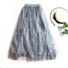 52fa93882 2019 New Casual Pleated Maxi Skirt Embroidery Women Long Skirt Mid-Calf  Vintage High Waist Beach Midi Skirts Jupe Femme