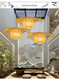 Lighted Shades Australia - New Chinese Bamboo weaving Wicker Rattan Shade Cap Ceiling Light E27 lamps lanterns living room hotel restaurant aisle Lamp
