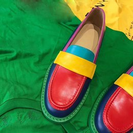 Shoes Green Color Australia - 2019 Newest Hot Selling Mix Color Ladies flat bottom shoes jelly Color Mules Loafer Shoes Women's red green yellow Leather Slipper Sandals