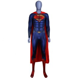 superman man steel Australia - Men Boys Superman Man of Steel Cosplay Costumes Tights Jumpsuits Superhero Event Halloween Superman Costumes Zentai Suit CloakMX190923