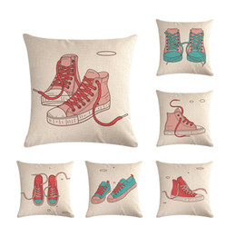 """Coffee Housing Australia - Canvas Shoes for Youth Home Cushion Cover Decorative Linen Pillowcase Square 18"""" Pillow Case Coffee House Sofa Waist Back Decor Party Gift"""