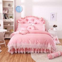 $enCountryForm.capitalKeyWord Australia - Pink princess style lace bedding sets cotton jacquard queen king size girls bedskirt+pillowcase+duvet cover set gifts