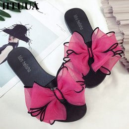 Jelly flat bow shoes online shopping - HTUUA New Fashion Big Bow Slippers Women Flat Sandals Casual Beach Flip Flops Summer Shoes Woman Slides Jelly Shoes SX2118