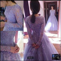 $enCountryForm.capitalKeyWord Australia - Vestido De Festa Modest Lavender lace appliques long sleeve ball gown prom dress vintage scoop neck princess prom gowns cheap sale