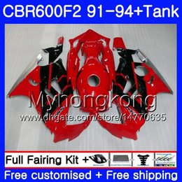 Honda Cbr F2 Red Fairings Australia - Body+Tank For HONDA CBR 600F2 CBR600FS CBR600F2 hot Factory red 91 92 93 94 288HM.21 CBR 600 F2 FS CBR600 F2 1991 1992 1993 1994 Fairing kit
