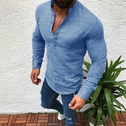 Men Cotton Business Shirts Australia - ZOGAA Brand Men T-shirts Long Sleeve Fashion Solid Button Up V Neck Shirts Spring Solid Business Casual Cotton Tops Tshirt Men