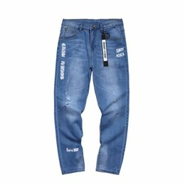 trend jeans Canada - Wholesale 2020 Denim Men's pants Harajuku style trend jeans Korean loose straight beggar pants autumn holes ankle length