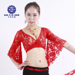 22ade88f05c62d New 2018 Women Belly Dance Costumes Bolero Lace Top Flared Sleeves Blouse  Female Dance Clothes Club Performance 13colors