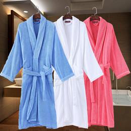 c8821df6da Bathrobe Men Cotton Thick Towel Fleece Male Dressing Gown Towel Sleepwear  Pure Color Nightgown Kimono For Long Flannel PyjamasTerry Robe Men
