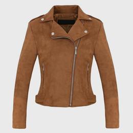 6083ad3fd593c Suede Turn Down Collar Women Faux Leather Jackets 2018 Rivet Female Zipper  Slim Short Coat Autumn Winter Woman s Biker Jacket