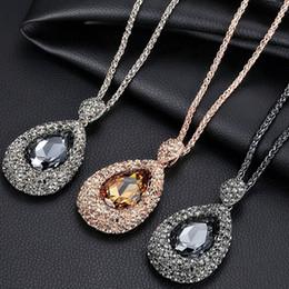 $enCountryForm.capitalKeyWord Australia - New Sweater Chain Stone Long Necklaces Pendants Jewelry Flower Key bear waterdrop Swarovski Crystal Fashion Pendants Silver Golden Necklace