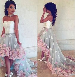 Wholesale pick up lines online – design New A Line Prom Dresses Hi Lo Strapless D Flowers Tulle Appliques Backless Sweep Train Evening Gowns Cocktail Party Dresses