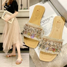 Discount flat shoes korean styles - korean style Solid Color rhinestone sandals beach slippers tip binding Wedges peep toe Low summer shoes PVC Crystal Flat