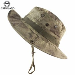 Camouflage boonie hats online shopping - 2018 Summer Outdoor Hunting Fishing Safari Bucket Hat Camouflage Boonie Hats Nepalese Cap Hiking Sun Hat with Adjustable strap
