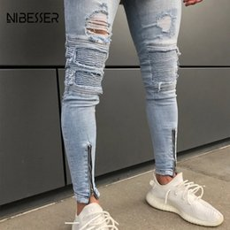 $enCountryForm.capitalKeyWord Australia - NIBESSER Ripped Jeans For Men Hip Hop Skinny Jeans Men Clothes Streetwear Pleated Motorcycle Biker Jean Strech For Man Trouser