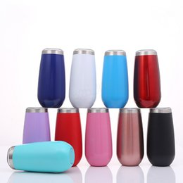 $enCountryForm.capitalKeyWord Australia - 6oz Eggshell Cup Colorful Egg Shape Cups champagne tumble Rainbow Stainless Steel Mug Red Wine Cocktail coffee mugs with lid LJJA2881