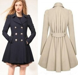Discount double breasted trench dress - Fashion Lady Slim Fit Wool Women Double Breasted Trench Warm Coats Dress Jacket Women Medium-Long Coat Wool Coat