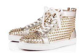 $enCountryForm.capitalKeyWord NZ - luxury mens Gold Spikes Toe High Top Designer Sneakers Red Bottom Shoes For Men,Women Outdoor Trainer - Fashion Wedding Dress EU35-46