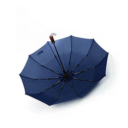 Chinese  New 10 bone windproof folding fashion automatic wooden handle umbrella business umbrella ladies creative free shipping manufacturers