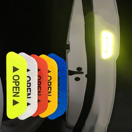 Personalized reflective car stickers online shopping - 4Pcs Set Car OPEN Reflective Tape Warning Mark Reflective Open Notice Bicycle Accessories Exterior Car Door Stickers DIY