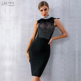 e016495ac4ac Adyce 2019 New Women Bandage Dress Sleeveless Black Feather Bead Club Dress  Vestido Luxury Diamond Celebrity Evening Party Dress Q190409