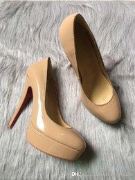 $enCountryForm.capitalKeyWord Australia - New Simple Women High Heels Pump in Nude Leather, New in Peep Toe 13 cm Platform Wedges in Red Sole Bottoms